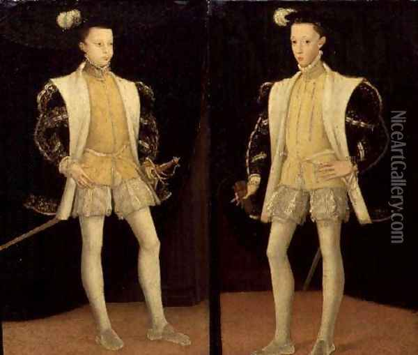 Left to right Francis II (1544-60) and Charles IX (1550-74) of France Oil Painting - Anonymous Artist