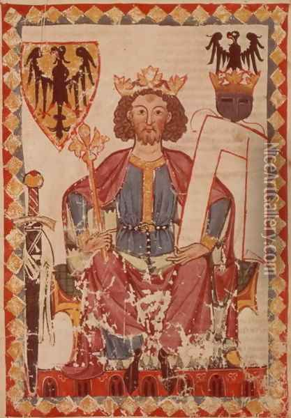 MS. Pal. germ. 848 King Henry, illustration from the Manasse Codex, a collection of courtly love songs, probably from Zurich, c.1300-20 Oil Painting - Anonymous Artist