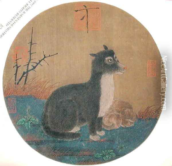 Dogs, Hui-Tsung Dynasty, 1100-35 Oil Painting - Anonymous Artist