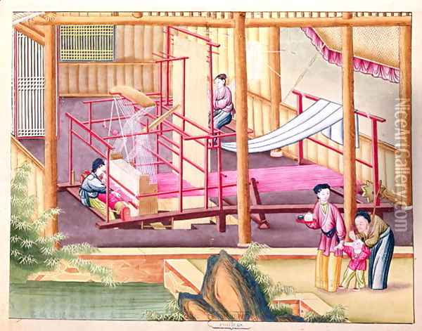 Weaving, from a book on the silk industry Oil Painting - Anonymous Artist