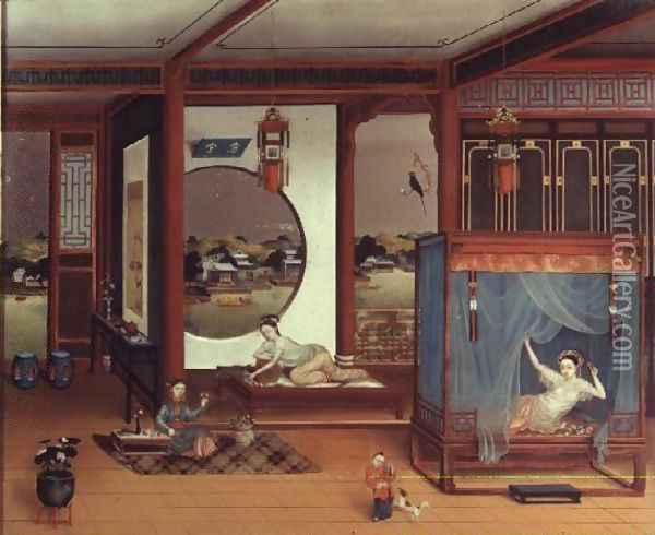 Scene of an interior Oil Painting - Anonymous Artist