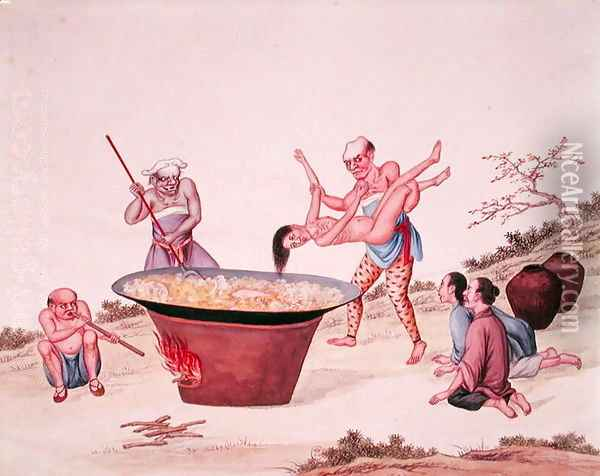 Plunging a woman into boiling water Oil Painting - Anonymous Artist