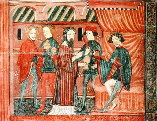 The Magi Before Herod, from the altar frontal of 'The Virgin with Roses', c.1350 Oil Painting - Anonymous Artist