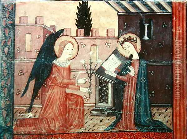 The Annunciation, from the altar frontal of 'The Virgin with Roses', c.1350 Oil Painting - Anonymous Artist