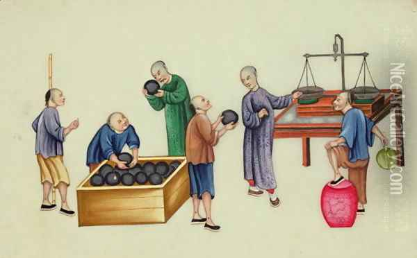 Chinese dealers testing and weighing opium, from 'The Evils of Opium Smoking' Oil Painting - Anonymous Artist