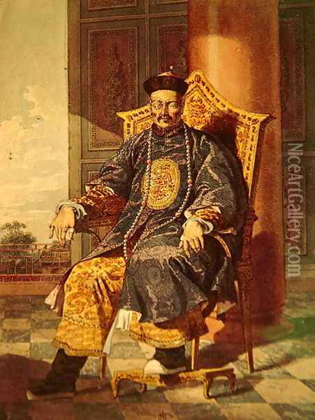 Portrait of Tchien Lung Emperor, 1793 Oil Painting - Anonymous Artist
