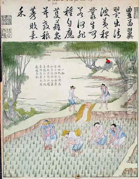 Transplanting, The Rice Culture in China Oil Painting - Anonymous Artist