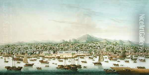 View of Canton, c.1800 Oil Painting - Anonymous Artist