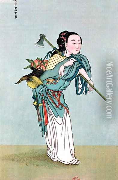 Ma Kou Carrying Medicinal Plants Oil Painting - Anonymous Artist
