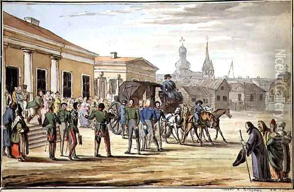 Russian Soldiers Arriving at Krasnoy, 1818 Oil Painting - Anonymous Artist