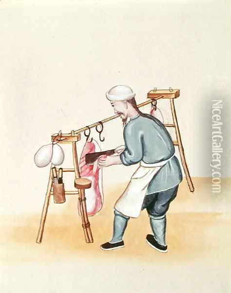 The Meat Seller, from a book on the street calls of Peking, c.1785 Oil Painting - Anonymous Artist