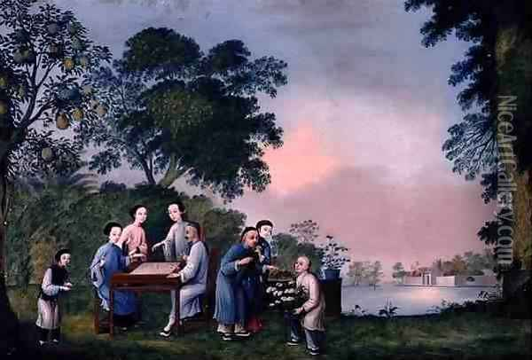 Figures Playing a Boardgame, c.1790 Oil Painting - Anonymous Artist
