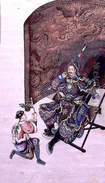 Seated Warrior with a Soldier Oil Painting - Anonymous Artist