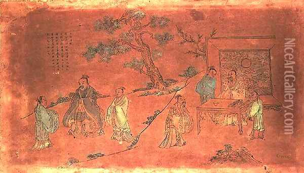 Scene from the life of Confucius (c.551-479 BC) and his disciples, Qing Dynasty (1644-1912) Oil Painting - Anonymous Artist