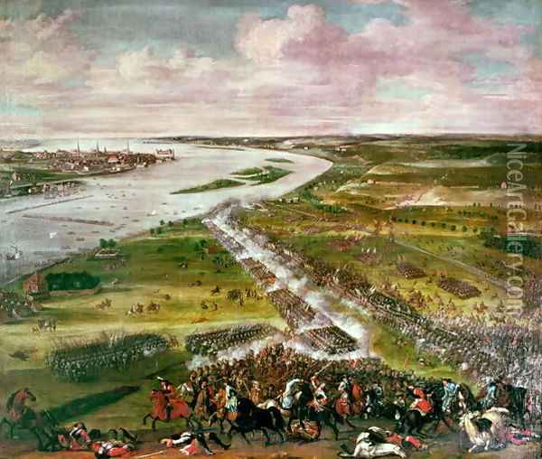 Battle for the Crossing of the Dvina, 1701 Oil Painting - Anonymous Artist