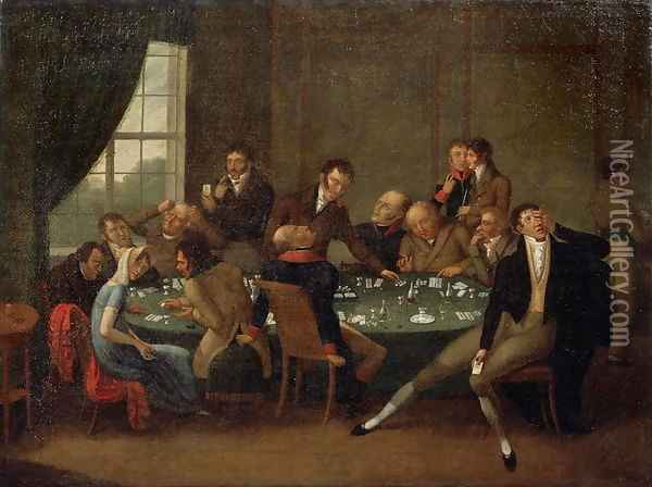 The Gambling House Oil Painting - Anonymous Artist