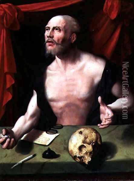 The Penitent St. Jerome in His Study Oil Painting - Anonymous Artist