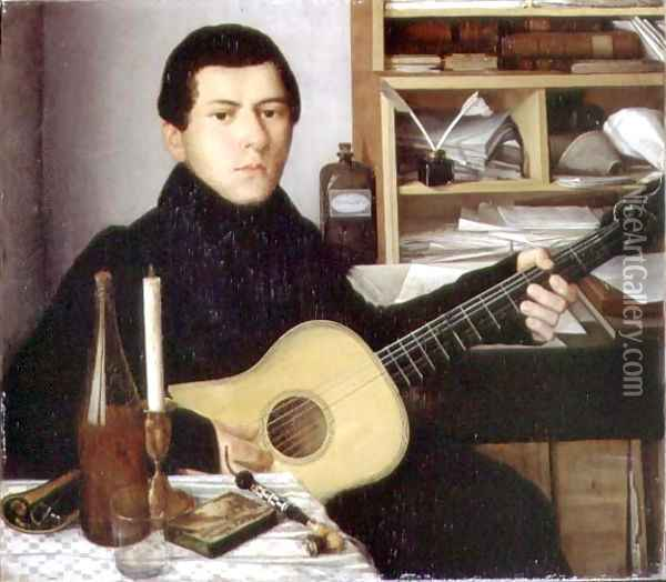 Portrait of a Young Man with a Guitar, c.1830 Oil Painting - Anonymous Artist