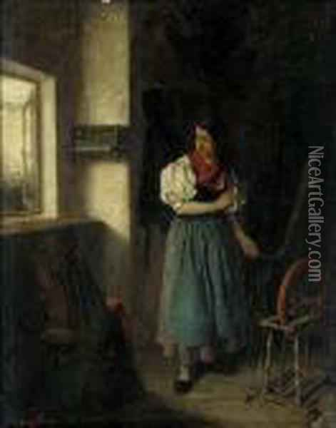 At The Spinning Wheel Oil Painting - Louisa Canziani Starr