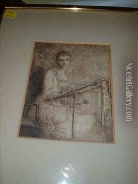 Study Of A Girlat An Embroidery Frame, Said To Be Ruth, Daughter Of W. Wakefield Oil Painting - Louisa Canziani Starr