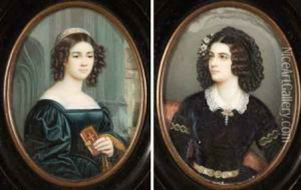 Indistinctly Signed, Inscribed Verso, Pair Of Oil Miniatures, Portraits Of Maria Grfin Van Landsfeld, And Anna Hillmayr, , 3 1/2 Oil Painting - Josef Karl Stieler
