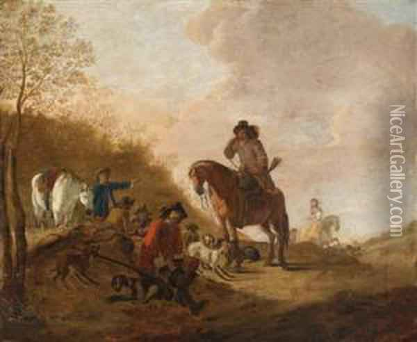 A Hunting Party Oil Painting - Dirck Willemsz. Stoop