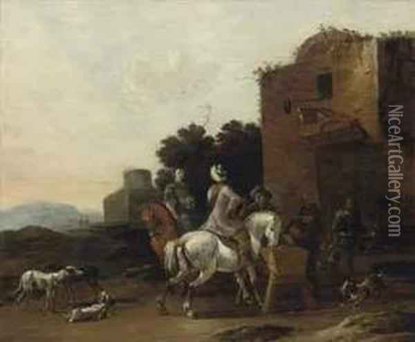 A Classical Landscape With A Hunting Party At Rest Oil Painting - Dirck Willemsz. Stoop