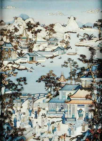 Panels depicting figures on a terrace, Qianlong period, 1736-95 Oil Painting - Anonymous Artist