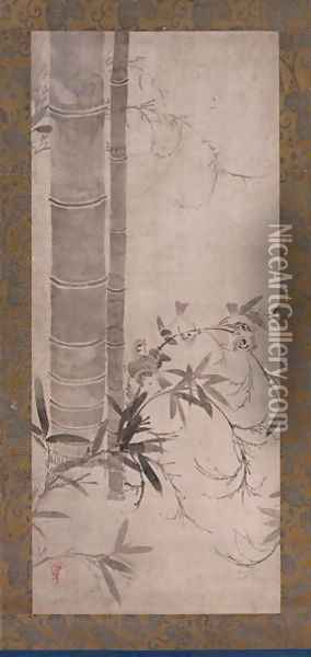 Sparrows and Bamboo, one of a pair of hanging scrolls, Edo period Oil Painting - Anonymous Artist
