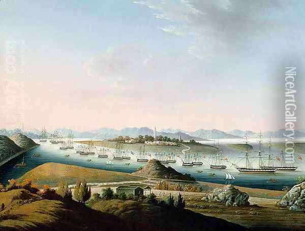 View of Whampoa, c.1840 Oil Painting - Anonymous Artist