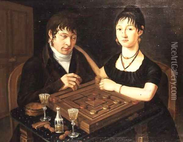 Portrait of Mr. and Mrs. Sutermeister Oil Painting - Anonymous Artist