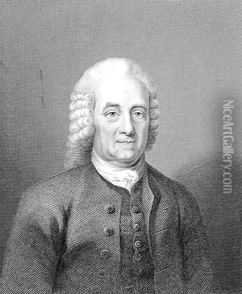 Emanuel Swedenborg 1688-1772 at the Age of 80, engraved by W. Holl, from World Religion, published by A. Fullarton and Co. Oil Painting - Anonymous Artist