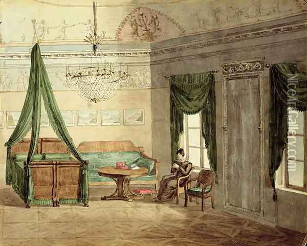 Neo-Classical Bedchamber, 1819 Oil Painting - Anonymous Artist
