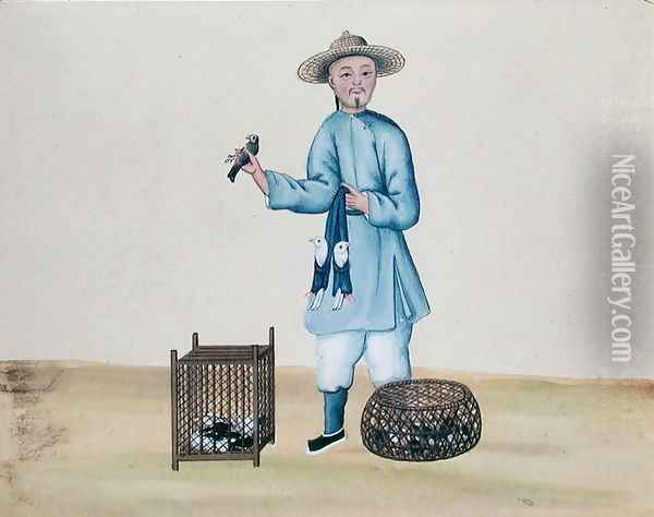 The Pigeon Seller, from a book on the street calls of Peking, c.1785 Oil Painting - Anonymous Artist
