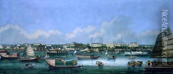 View of the Waterfront at Canton, c.1855 Oil Painting - Anonymous Artist