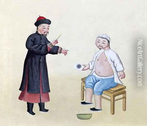 An Acupuncturist with his patient, c.1785 Oil Painting - Anonymous Artist