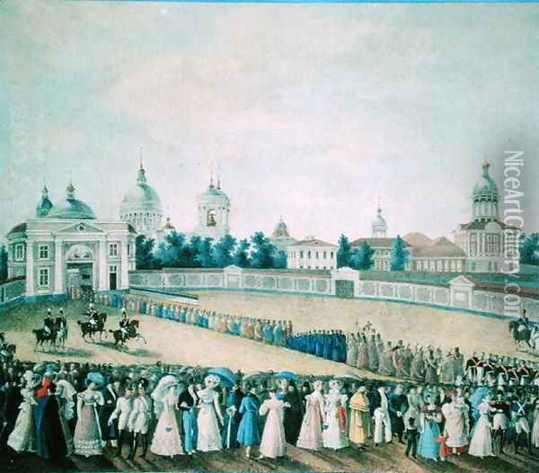 The Visit of Alexander I 1777-1825 to the Alexander Nevsky Monastery, 1821 Oil Painting - Anonymous Artist