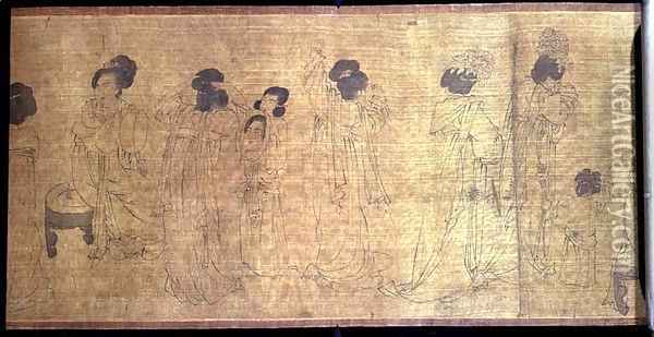 Palace Ladies at Leisure Handscroll, detail of ladies preparing to go out, after an original by Wen-chu Chou (fl.970) Southern Sung period, c.1140 Oil Painting - Anonymous Artist
