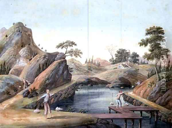 View of a Rock Quarry, 1820 Oil Painting - Anonymous Artist