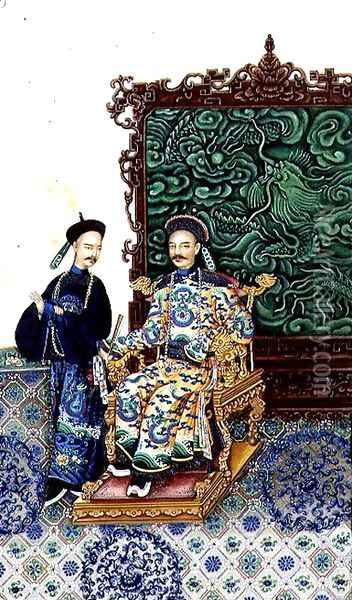 Emperor Seated with a Man Oil Painting - Anonymous Artist