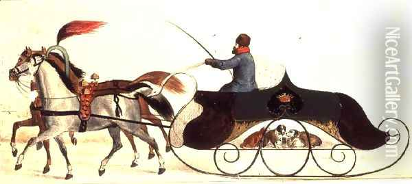 Horse Drawn Sleigh Oil Painting - Anonymous Artist