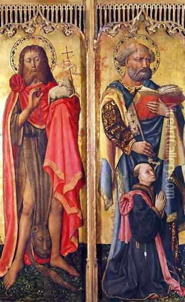 St. John the Baptist and St. Peter, from the Altarpiece of Pierre Rup, c.1450 Oil Painting - Anonymous Artist