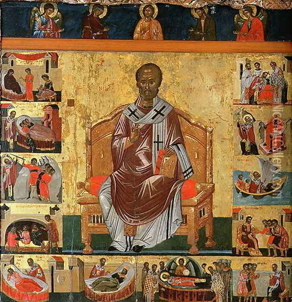 St. Nicolas and scenes of his life Oil Painting - Anonymous Artist