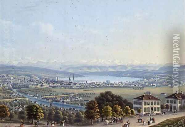 View of Zurich, c.1840 Oil Painting - Anonymous Artist