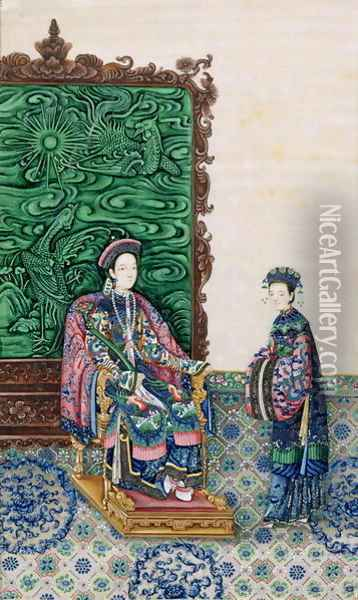 Empress Seated with a Lady Oil Painting - Anonymous Artist