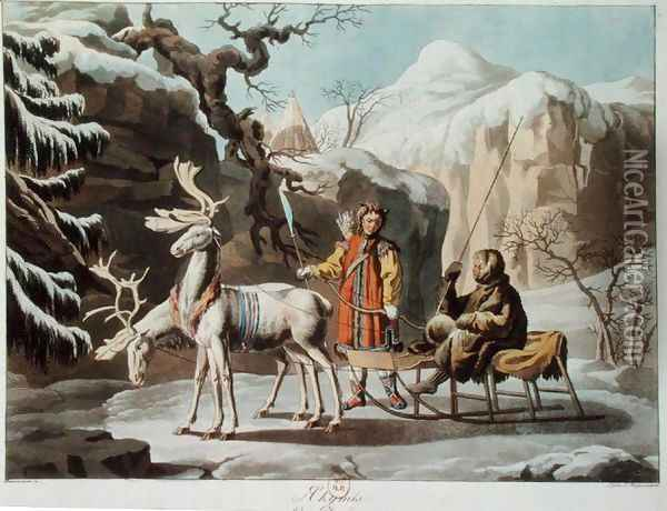 Yakuts of central Siberia in winter landscape, clad in furs and with a reindeer sledge, published 1813 Oil Painting - Anonymous Artist