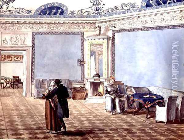 Neo-Classical Blue Drawing Room in St. Petersburg, 1819 Oil Painting - Anonymous Artist