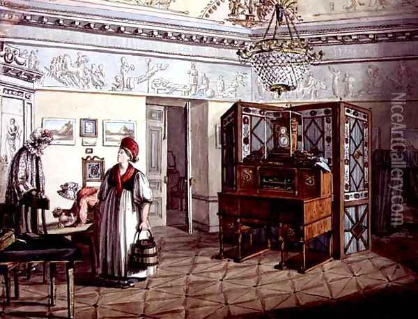 Neo-Classical Nursery in St. Petersburg, 1819 Oil Painting - Anonymous Artist