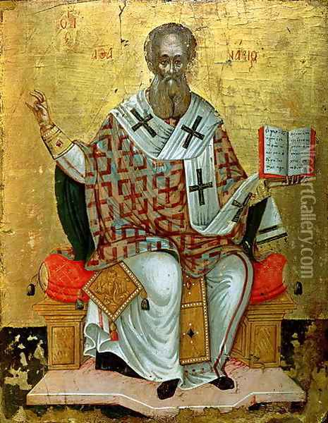 St. Athanasius the Great (d.c.295) Oil Painting - Anonymous Artist