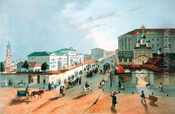 The Imperial Post Office in Moscow, engraved by A. Muller, 1840s Oil Painting - Anonymous Artist